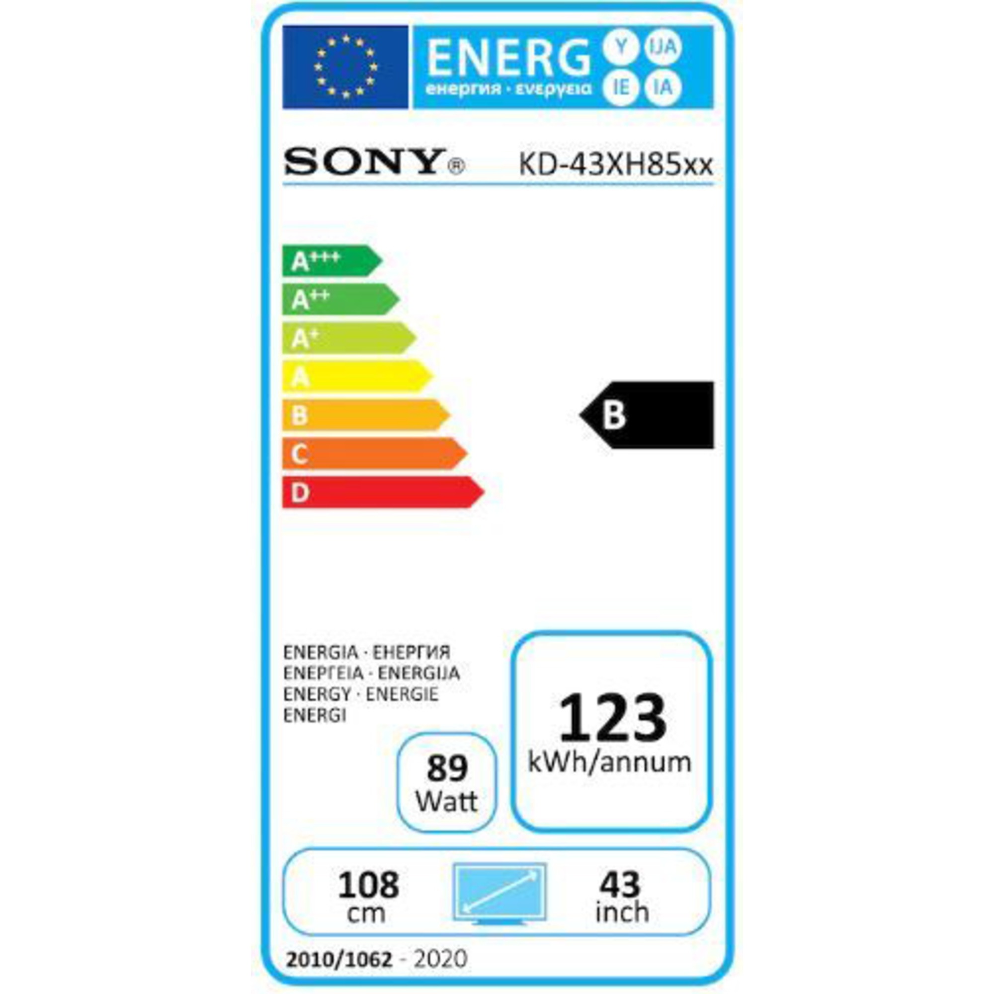 "Sony Ultra HD Smart TV 43"" KD43XH8599BAEP"