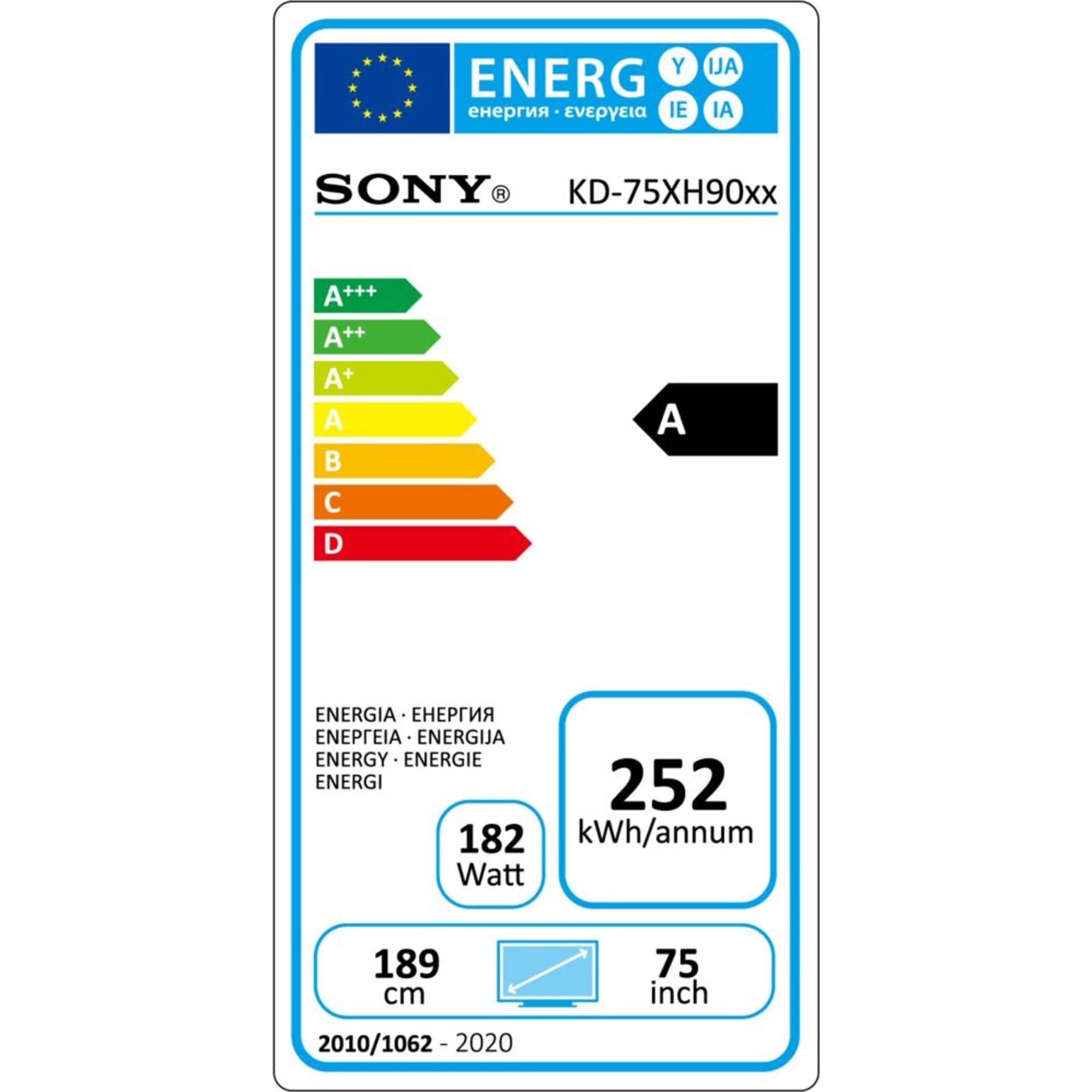 "Sony Ultra HDR Smart TV 75"" KD75XH9096BAEP"